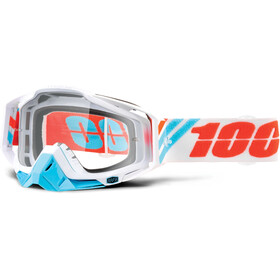 100% Racecraft Anti Fog Clear Goggles vit/turkos
